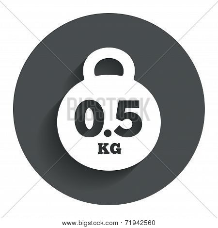 Weight sign icon. 0.5 kilogram (kg). Mail weight