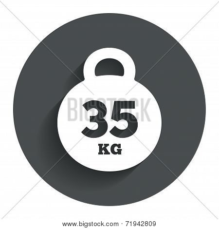 Weight sign icon. 35 kilogram (kg). Sport symbol
