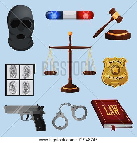 Law legal justice judge and legislation icons set with scales court gavel isolated vector illustration poster