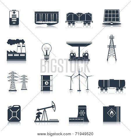 Energy icons black set