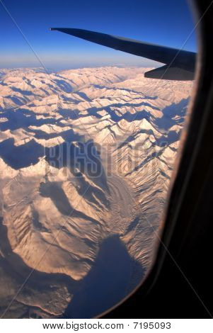 Wintry Himalayas from the air -