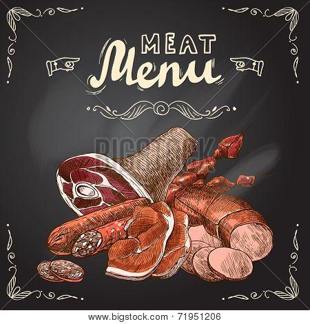 Meat chalkboard poster