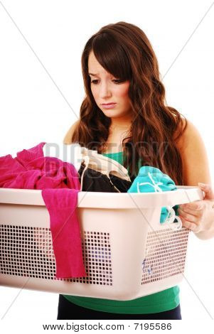 Teenager doing chores
