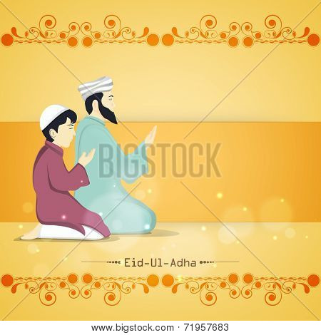 Religious young Muslim man with his son praying (Namaz, Islamic Prayer) on floral design decorated yellow background for Muslim community festival Eid-Ul-Adha celebrations.