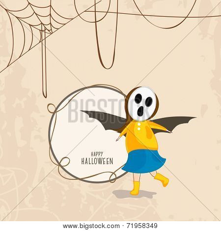 Trick or Treat party concept with little girl in skull mask and bat wings on spider web background and space for your text.