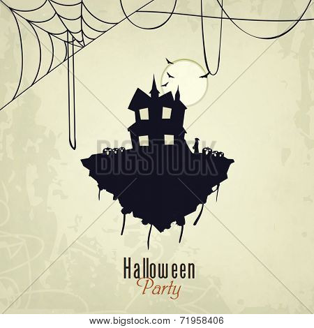 Happy Helloween night party celebration with haunted house, scary flying bad and spider web on grungy background.