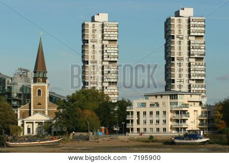 Residential towers and church