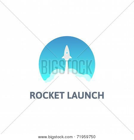 Gray rocket and white cloud, circle icon in flat style, vector illustration