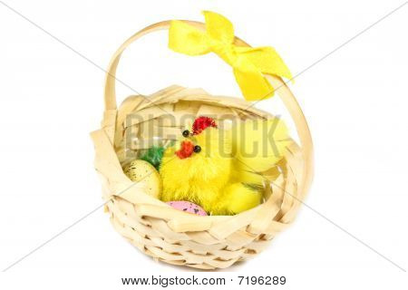 Mother Chicken With Eggs In Basket