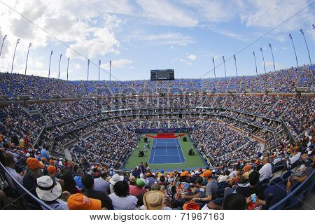 Arthur Ashe Stadium  during the opening ceremony of the US Open 2014 women final