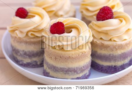 Cup-cakes Close-up With Raspberry On Top