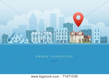 Vector flat illustration of city landscape. OPtions concept. Elements are layered separately in vector file. Easy editable.