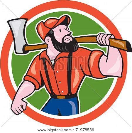 Lumberjack Holding Axe Circle Cartoon