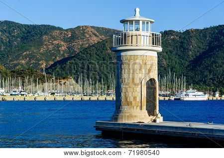 Old colorful lighthouse at Marmaris city embankment
