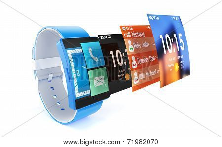 3D Render Of Smart Watch Isolated On White Background