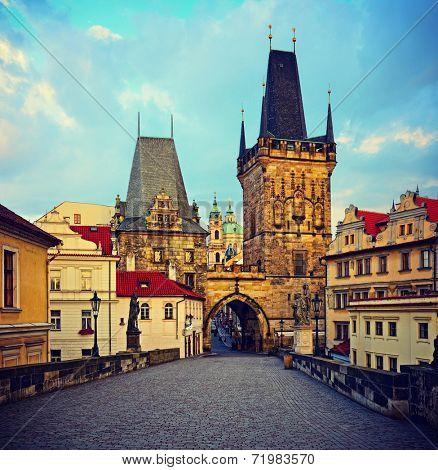 view on the Prague ,Charles bridge ,Lesser Bridge Tower. instagram effect