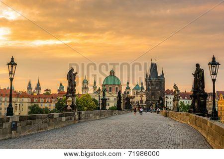 view on the Prague ,Charles bridge ,Lesser Bridge Tower