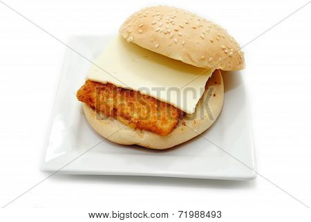 Fish Sandwhich With A Slice Of American Cheese