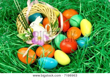 Eggs In The Grass With A Rabbit