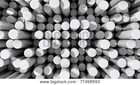 Background Of White Reflective Extruded Cylinders Or Rods At Various Heights