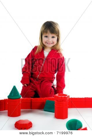 Little Girl With Her Blocks