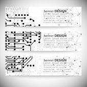 Set of horizontal banners. Molecule structure, gray background for communication poster