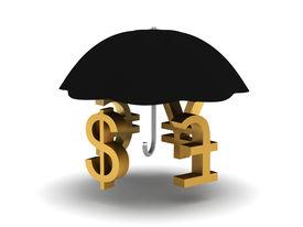 Umbrella with monetary symbols