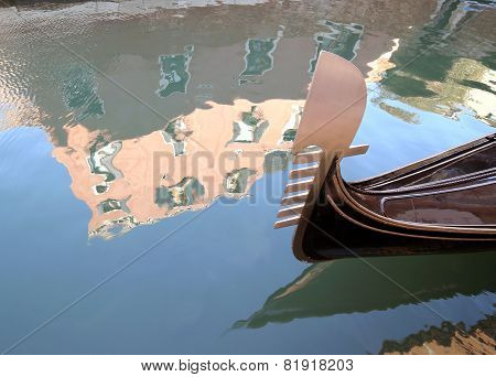 Gondola On The Water In Venice Near Saint Mark Square