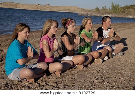 Group Meditating