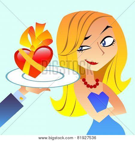 Heart Gift Woman Slyly Looks