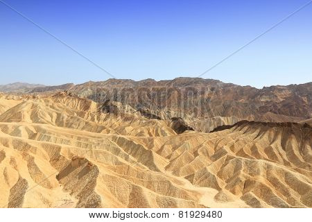 Mojave Desert in California United States. Scenic view of Zabriskie Point in Death Valley National Park (Inyo County). Erosional landscape of sediments in Amargosa Range mountains. poster
