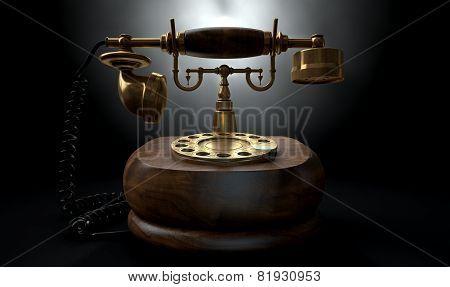A vintage wood and brass telephone with a handset and dial embellishments on an isolated dark studio background poster