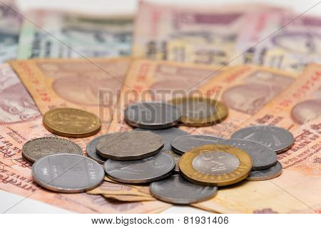 Indian Currency different Rupee bank notes and coins background poster