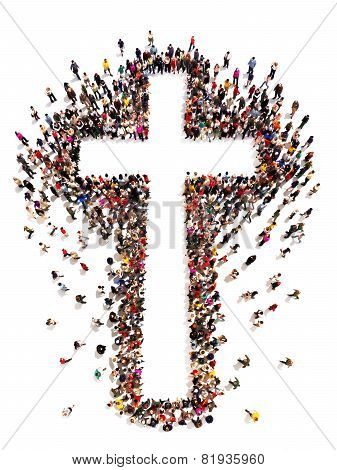 People finding Christianity, religion and faith. Large crowd of people walking to and forming the shape of a cross on a white background with room for text or copy space in the cross. poster