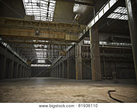Large Interior framed grunge warehouse with an empty floor .Photo realistic 3d illustration.