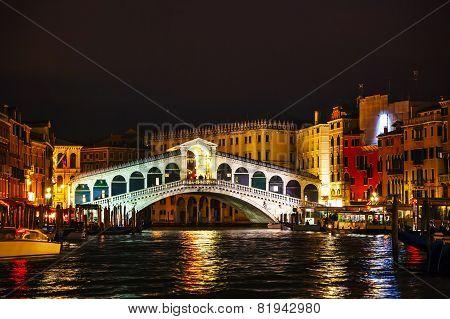 Rialto Bridge (ponte Di Rialto) In Venice, Italy