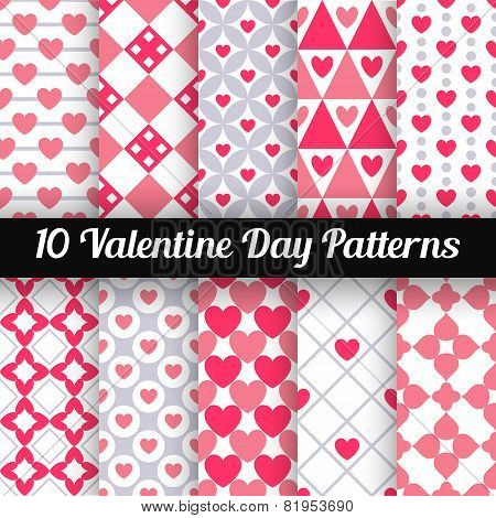 Heart shape vector patterns. Pink color.