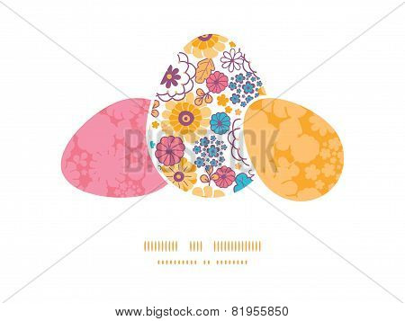 Vector colorful oriental flowers three matching Easter egg sillhouettes frame card template