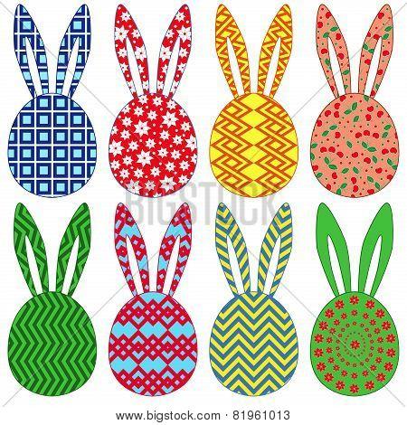 Eight Ornamental Easter Rabbit Heads