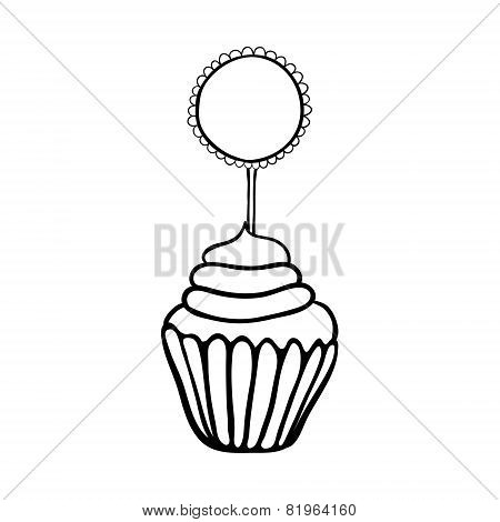 Cupcake sketch with frilly round topper