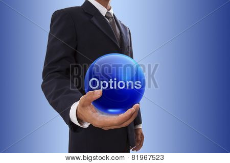 Businessman with options word