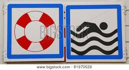 Warning signs at a beach