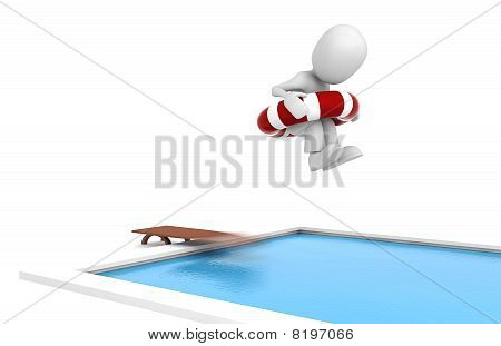 3d man jumping in a swiming pool