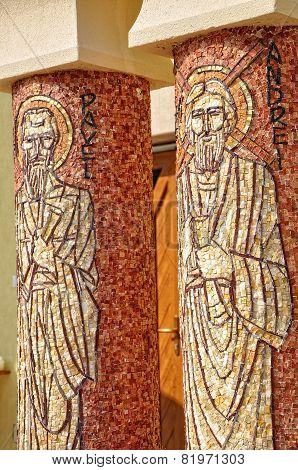 Saint Paul And Saint Andrew Mosaic On A Greek Catholic Church Column