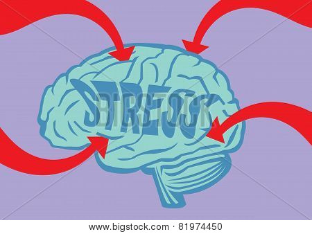 Stressed Out Brain Vector Illustration