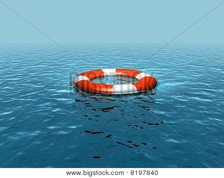 Lifebelt on ocean