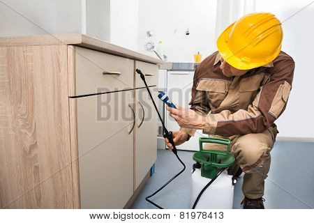 Pest Control Worker Spraying Pesticides