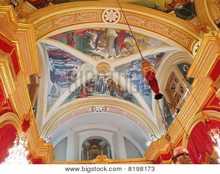 Dome and interior of traditional maltese church poster