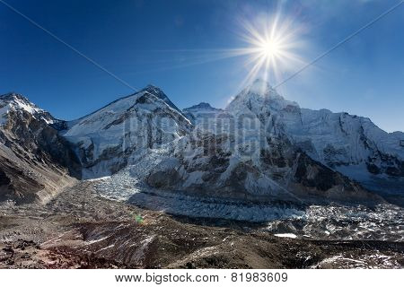 Morning Sun Above Mount Everest, Lhotse And Nuptse