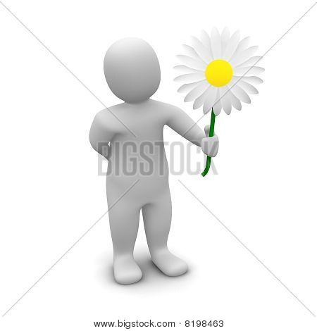 Man and flower
